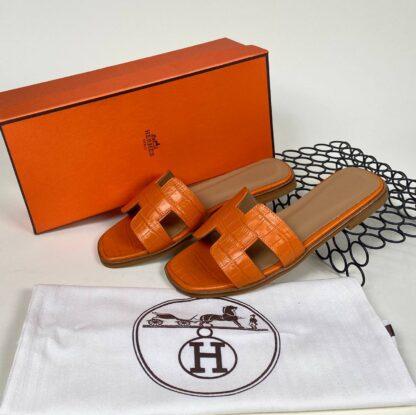 hermes ayakkabi turuncu croco ithal