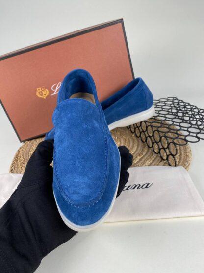 lora piana ayakkabi loafer saks mavi nubuk ithal