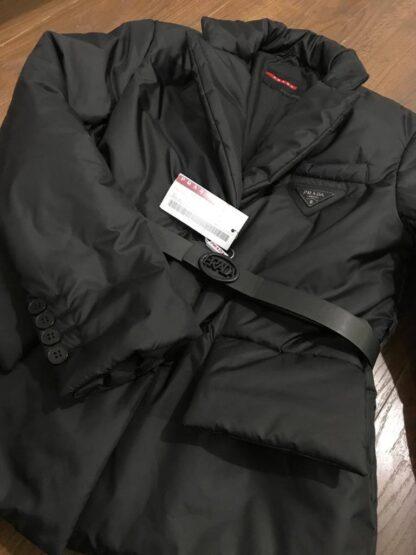 prada mont kadin ceket kemerli siyah
