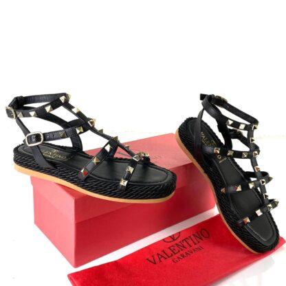 valentino terlik garavani rockstud rope slide sandalet