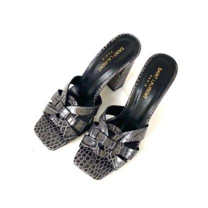 yves saint laurent terlik croco gri terlik sandalet 10 cm
