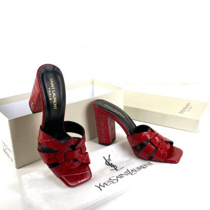 yves saint laurent terlik croco heeled sandal 10 cm