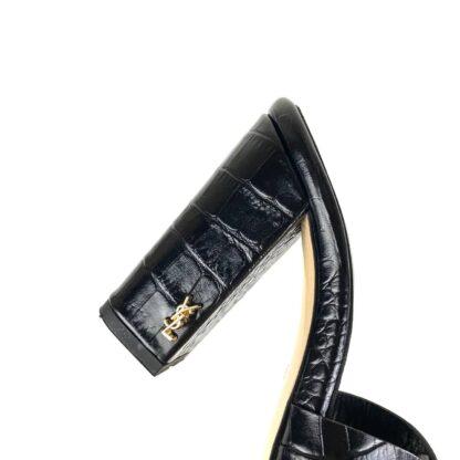 yves saint laurent terlik croco siyah terlik sandalet 10 cm