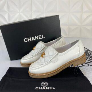chanel ayakkabi quilted derby loafer beyaz