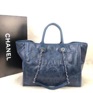 chanel canta glazed deauville tote mavi caviar 38x30x20 cm