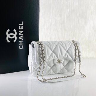 chanel canta jumbo chesterfield puffer 3.55 beyaz silver 30x20 cm