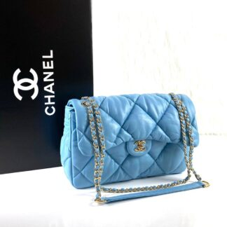 chanel canta jumbo chesterfield puffer 3.55 mavi gold 30x20 cm