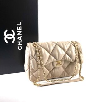 chanel canta jumbo chesterfield puffer 3.55 nude gold 30x20 cm