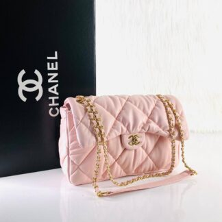 chanel canta jumbo chesterfield puffer 3.55 pembe gold 30x20 cm