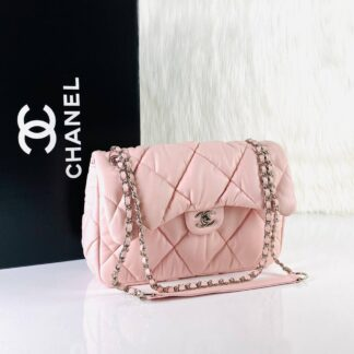 chanel canta jumbo chesterfield puffer 3.55 pembe silver 30x20 cm