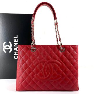 chanel canta shopping caviar kirmizi silver 35x24 cm