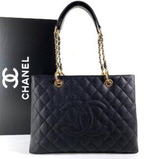 chanel canta shopping caviar siyah gold 35x24 cm
