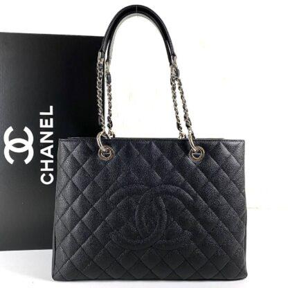 chanel canta shopping caviar siyah silver 35x24 cm