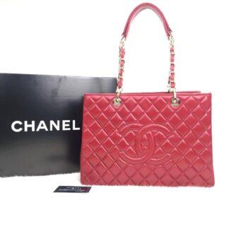 chanel canta shopping kirmizi gold 35x24 cm