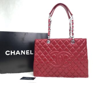 chanel canta shopping kirmizi silver 35x24 cm