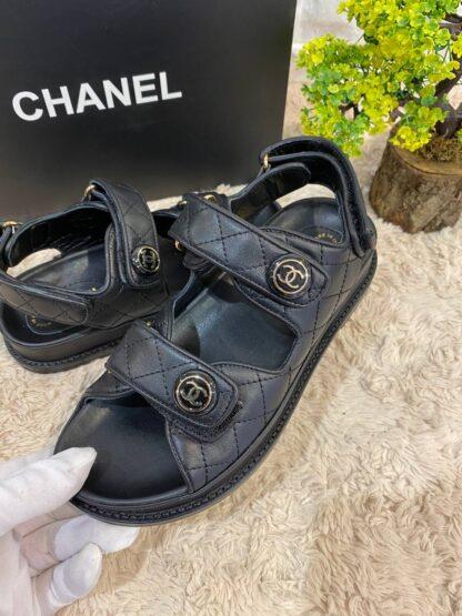 chanel terlik siyah deri sandalet