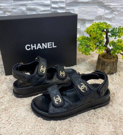 chanel terlik siyah deri sandalet gold tasli