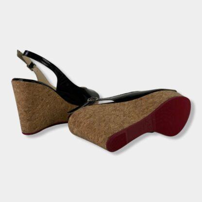christian louboutin terlik sandalet siyah rugan platform nude topuk 10.5 cm