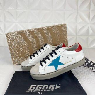 golden goose ayakkabi sneakers erkek beyaz mavi kirmizi ithal