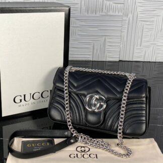 gucci canta marmont siyah silver 25x17 cm ithal