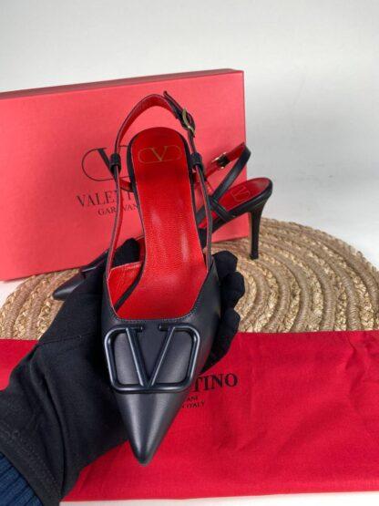 valentino ayakkabi topuklu vlogo siyah kirmizi ithal