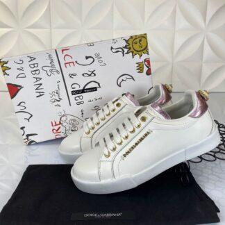 dolce gabbana ayakkabi sneakers beyaz pembe nappa