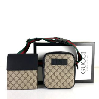 gucci canta erkek classic waist strap bel deri siyah ikili yanyana