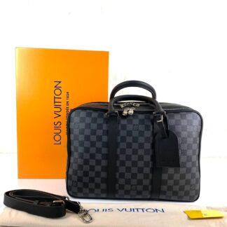 louis vuitton canta siyah gri damier canvas icare travel evrak laptop 39x29x14 cm