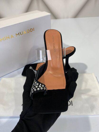 amina muaddi ayakkabi topuklu pumps siyah suet tasli 10cm ithal