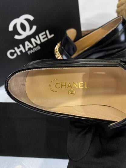 chanel ayakkabi loafer shiny calfskin siyah