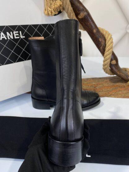 chanel bot uzun lace up siyah ithal deri