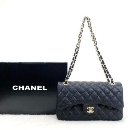 chanel canta classic flap siyah gold caviar deri 2.55 orta boy 26x18 cm