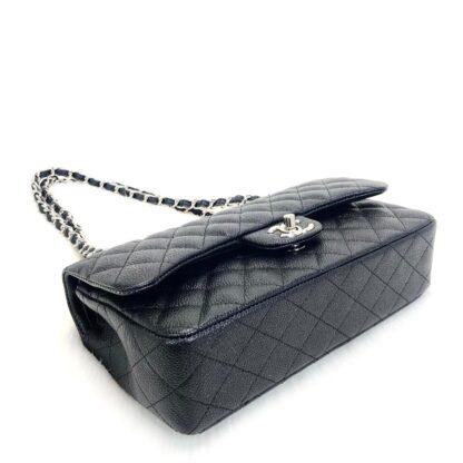 chanel canta classic flap siyah silver caviar tirtikli deri 2.55 orta boy 26x18 cm