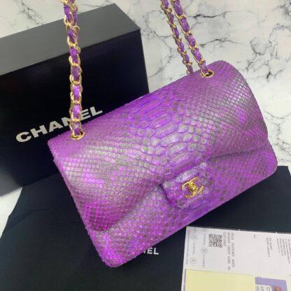 chanel canta exclusive jumbo phyton 3.55 mor gold hakiki deri 30x20x10