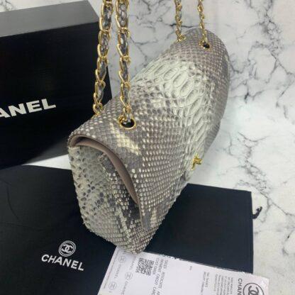 chanel canta exclusive jumbo phyton 3.55 naturel gri gold hakiki deri 30x20x10