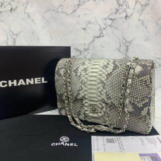 chanel canta exclusive jumbo phyton 3.55 naturel gri silver hakiki deri 30x20x10