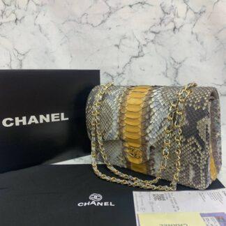 chanel canta exclusive jumbo phyton 3.55 naturel sari serit gri gold hakiki deri 30x20x10