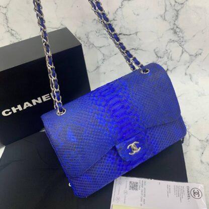 chanel canta exclusive jumbo phyton 3.55 saks mavi silver hakiki deri 30x20x10