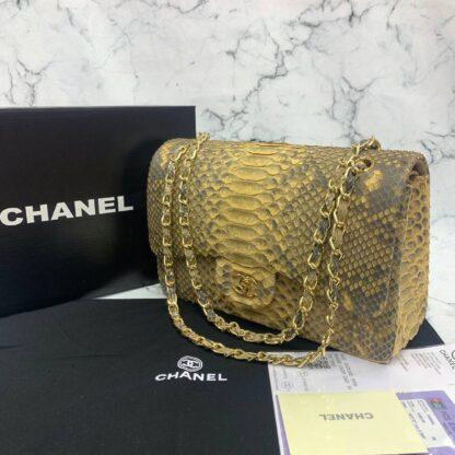 chanel canta exclusive jumbo phyton 3.55 sari gold hakiki deri 30x20x10