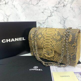 chanel canta exclusive jumbo phyton 3.55 sari silver hakiki deri 30x20x10