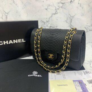 chanel canta exclusive jumbo phyton 3.55 siyah gold hakiki deri 30x20x10