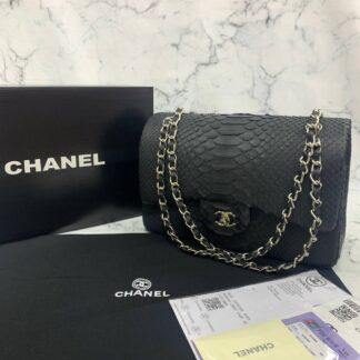 chanel canta exclusive jumbo phyton 3.55 siyah silver hakiki deri 30x20x10