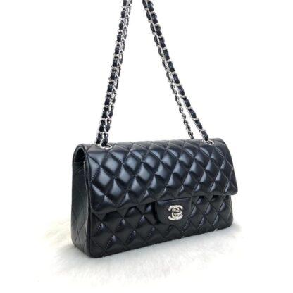 chanel canta ithal classic flap deri siyah silver 2.55 orta boy 26x18 cm