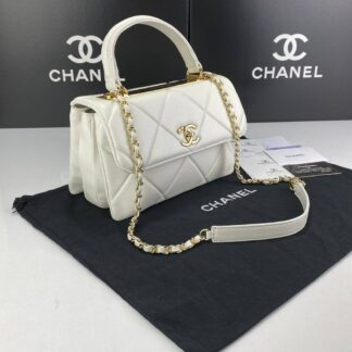 chanel canta trendy coco beyaz gold aksesuar 26x20 cm