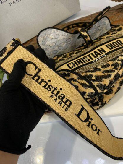 christian dior canta saddle leopar askili 25x20 cm ithal deri