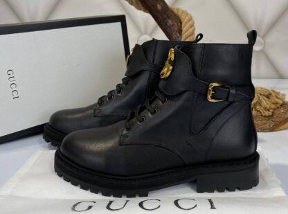 gucci bot classic logo siyah ic dis deri ithal