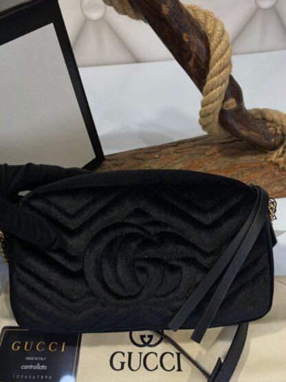 gucci canta marmont messenger siyah kadife 24x14x8 cm