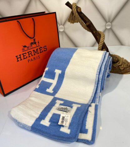 hermes battaniye yeni sezon mavi yun kasmir 170x147 cm