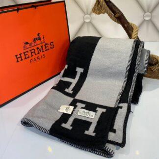 hermes battaniye yeni sezon siyah gri yun kasmir 170x147 cm