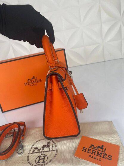 hermes canta kelly 22 cm turuncu silver